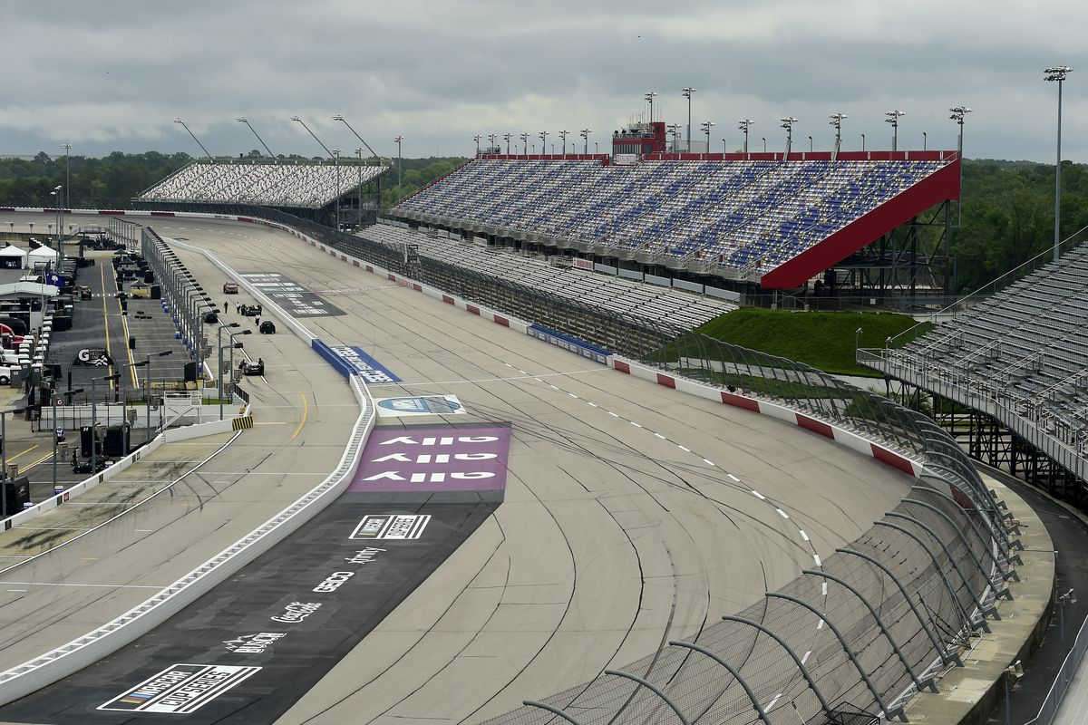 A general view of empty stands without fans due to the ongoing coronavirus pandemic prior to the NASCAR Xfinity Series Toyota 200 at Darlington Raceway on May 19, 2020 in Darlington, South Carolina.