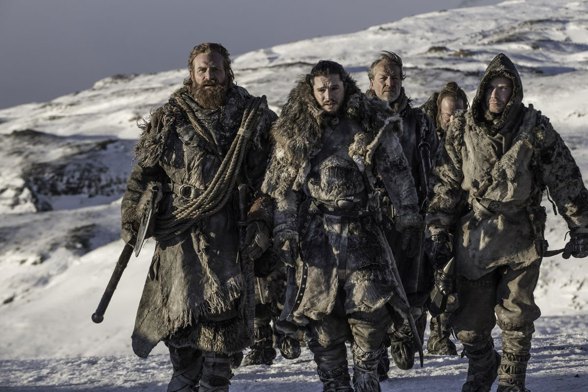 Jon Snow (center) leading his band of merry men beyond the Wall.