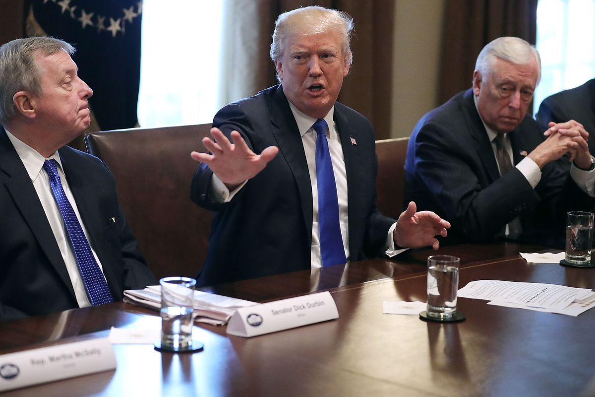 Senate Minority Whip Richard Durbin (D-IL), on left, has lambasted President Trump for his disparagement of certain countries that supply the US with immigrants
