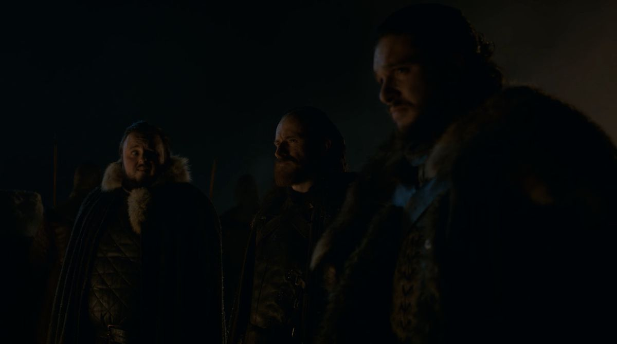 Game of Thrones S08E02 Sam and Jon on the wall