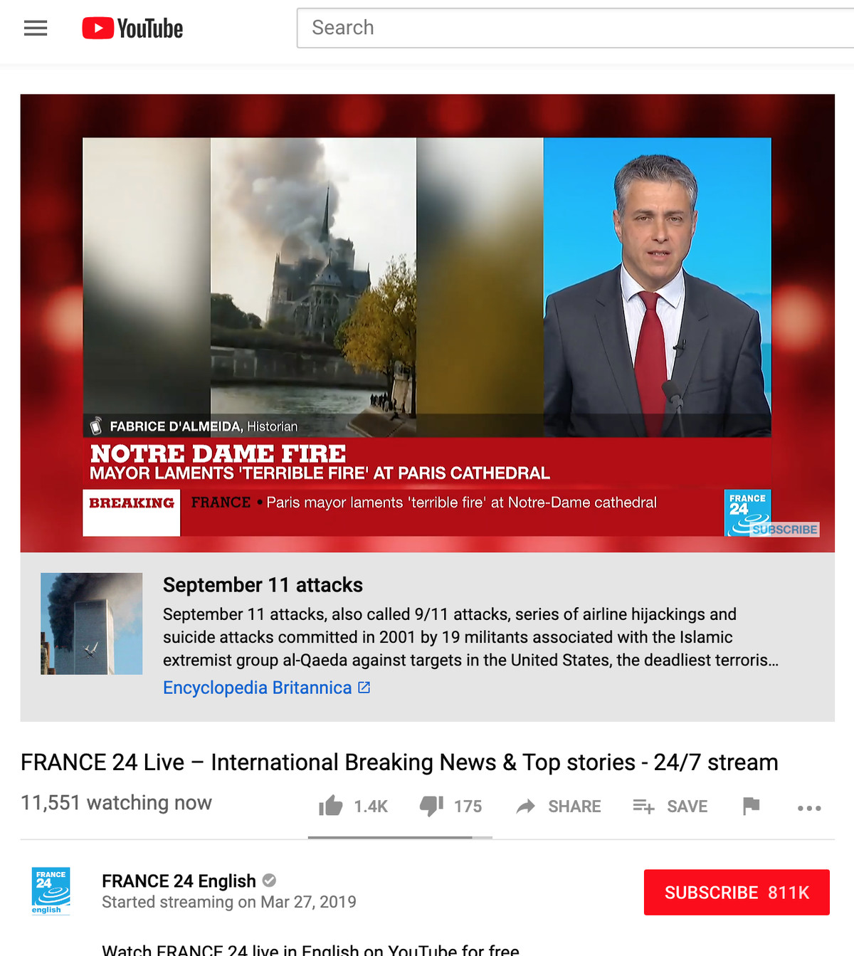 YouTube shows 9/11 link on live videos of unrelated Notre ...