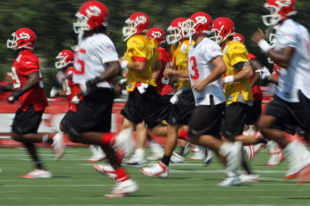 SAINT JOSEPH, MO - JULY 31:  The team runs drills during Kansas City Chiefs Training Camp on July 31, 2011 in Saint Joseph, Missouri.  (Photo by Jamie Squire/Getty Images)