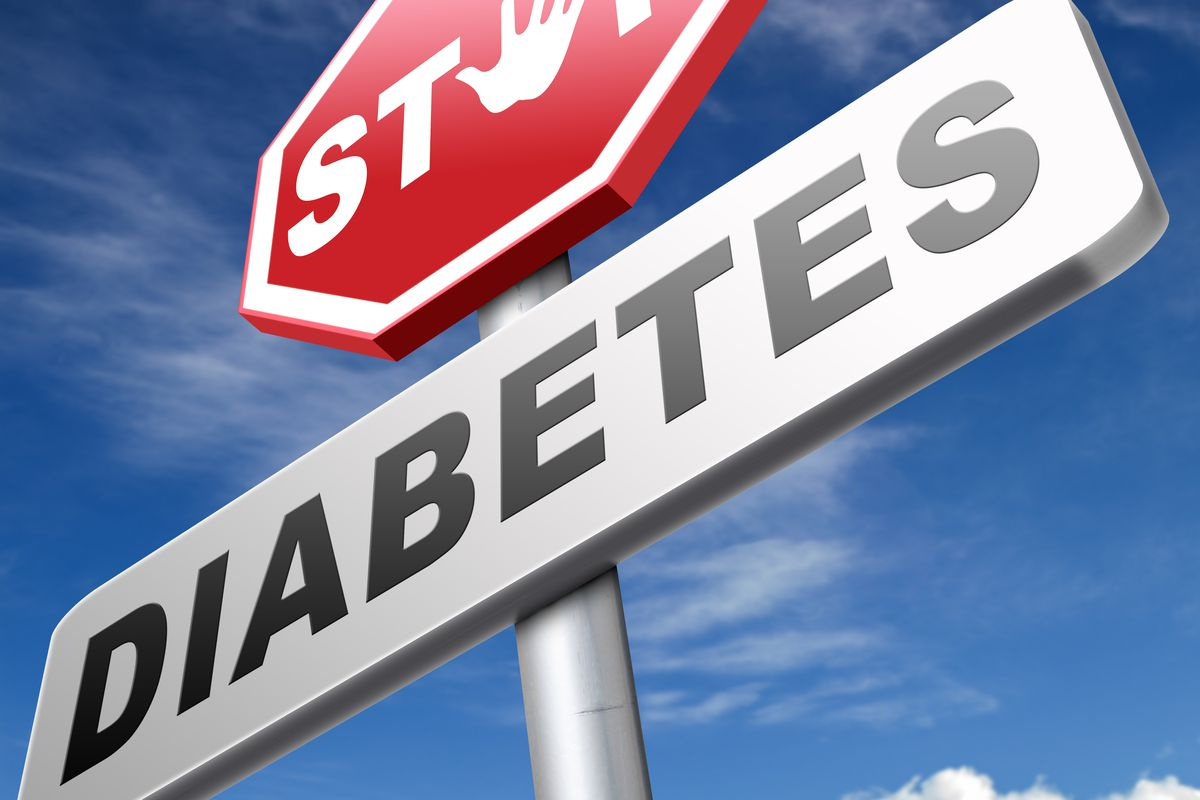 A street sign urges people to stop diabetes.