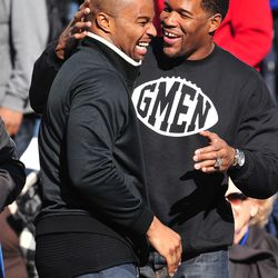 With Michael Strahan at 2009 Super Bowl celebration