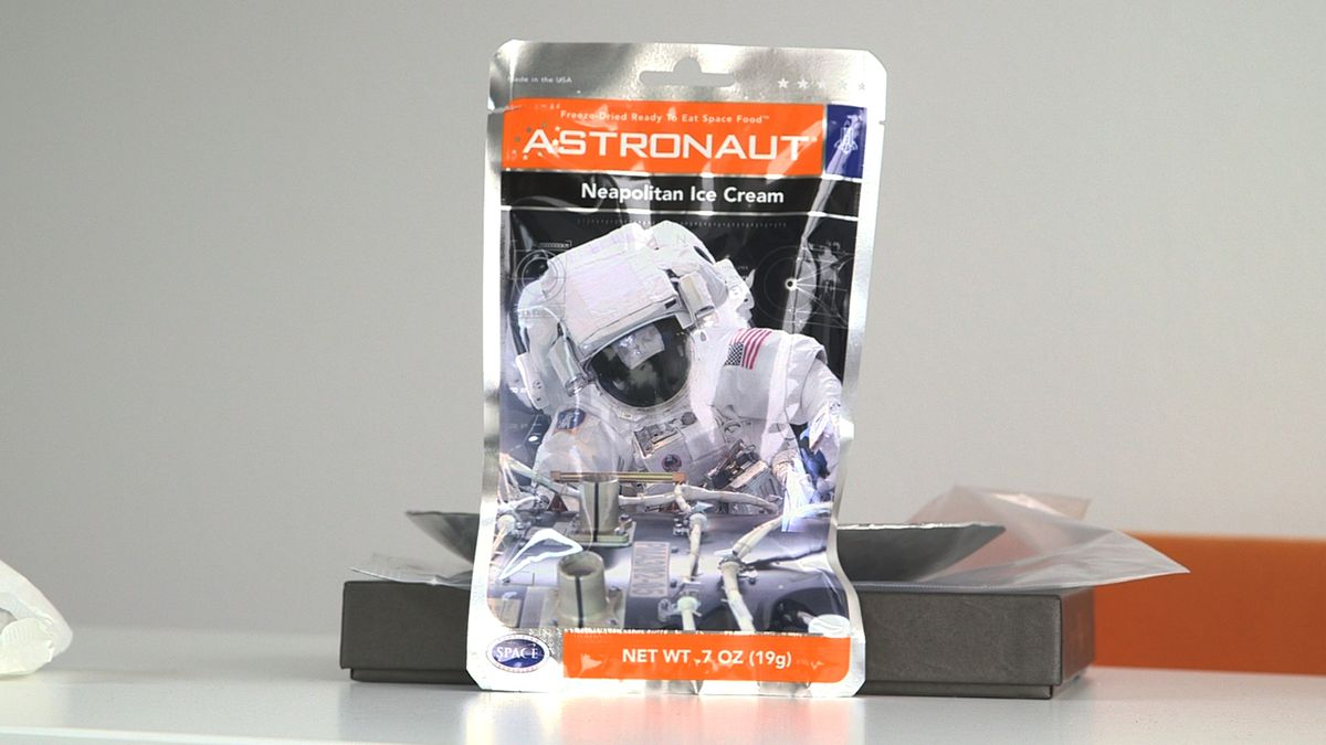A typical astronaut ice cream package.