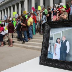 A photograph shows Josh Holt and his wife, Thamara Caleno, during a rally at the Capitol in Salt Lake City on Saturday, July 30, 2016. Family members and supporters held a rally to call for the release of Josh Holt, who has been jailed in Venezuela.