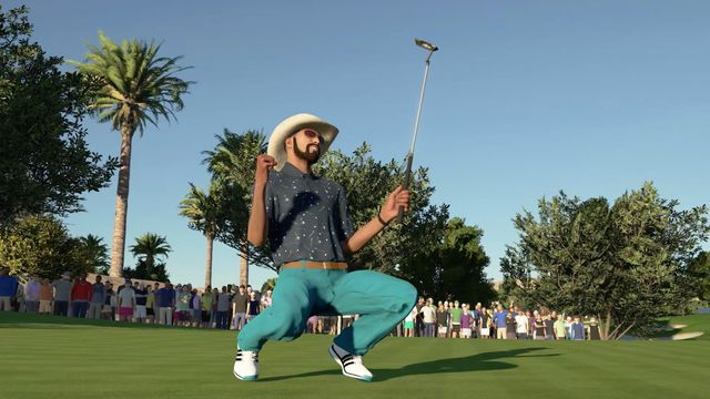 a bearded golfer celebrates a successful putt while crouching in PGA Tour 2K21