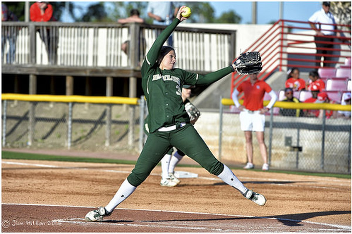 Heather Stearns demonstrating the ridiculous form of softball pitchers.
