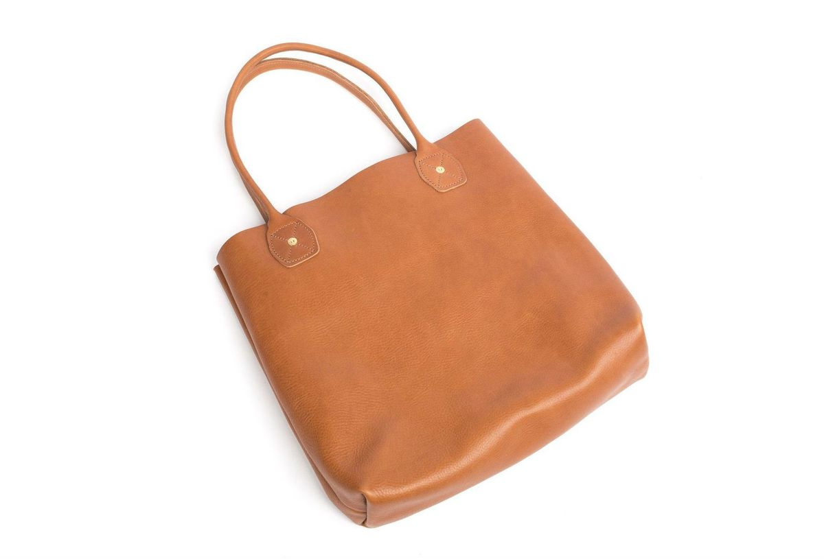 A brown leather tote