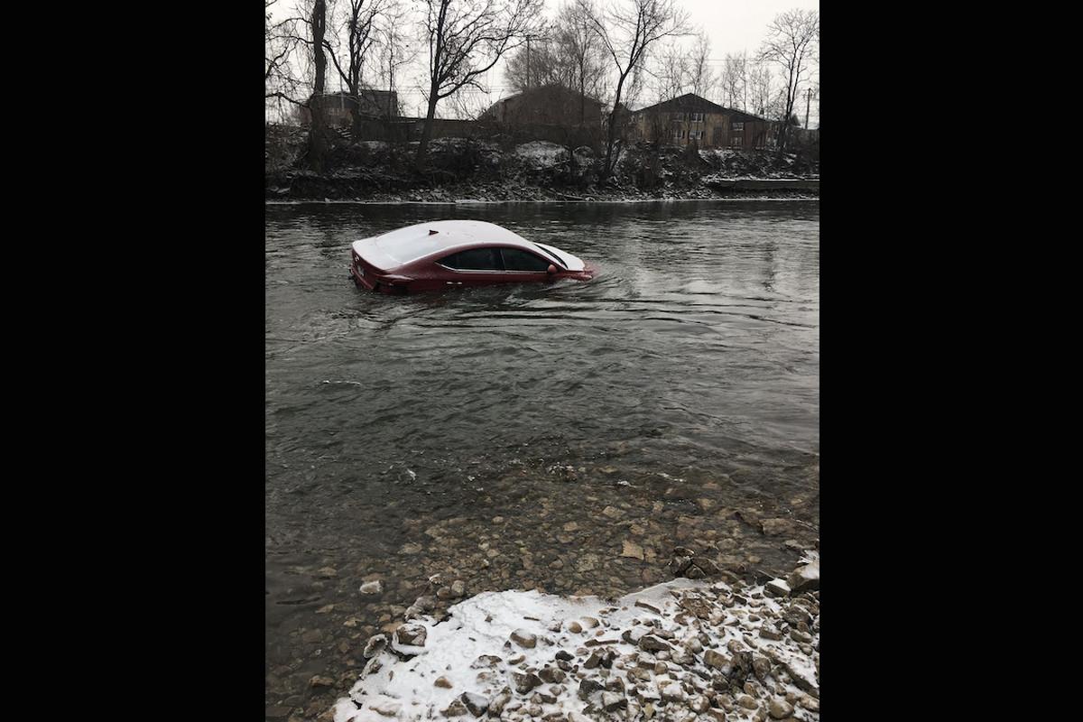 A car found in the Des Plaines River Jan. 24, 2021.