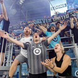 July 13, 2019 - Saint Paul, Minnesota, United States - Fans sing Wonderwall in celebration as Minnesota United defeats FC Dallas 1-0 at Allianz Field.