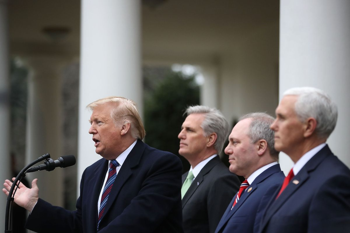 President Trump Speaks In The Rose Garden Of White House After Meeting With Congressional Leaders On Gov't Shutdown