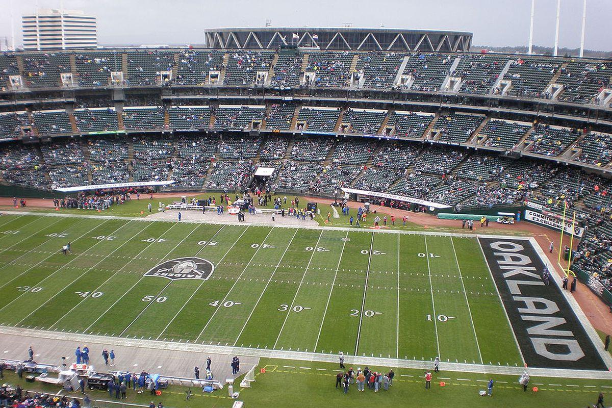 Oakland Alameda Coliseum during football season.