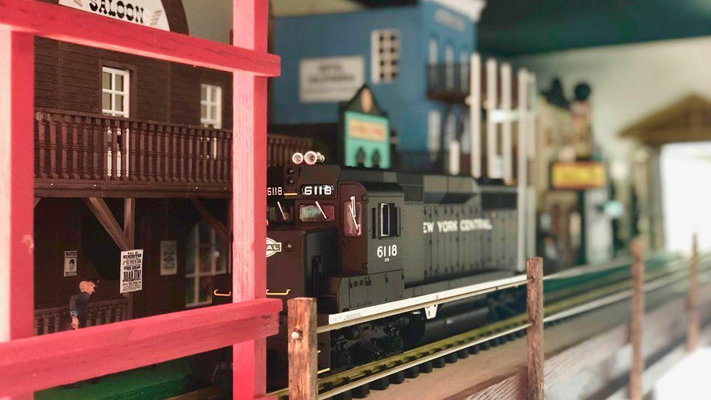 The working model train track inside the new Egg Works restaurant in Centennial.