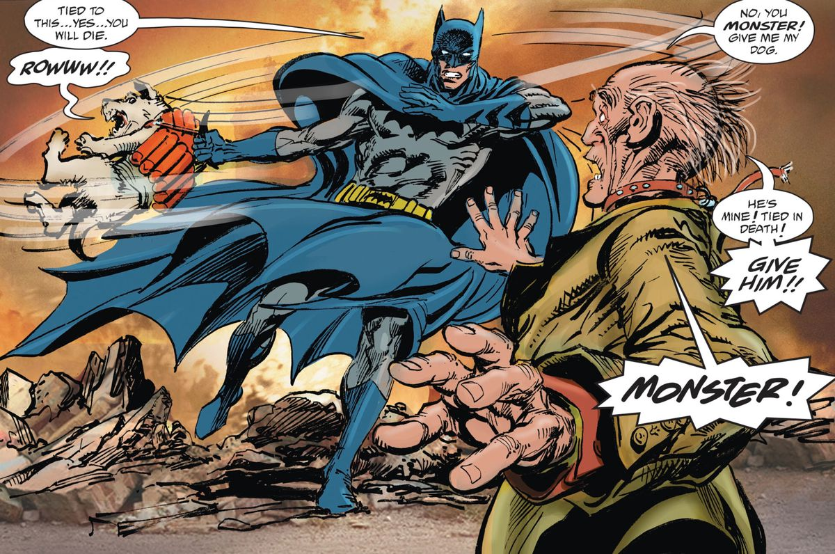 Batman swings a dog around — the dog has explosives strapped to it — while a homeless man yells at him to stop because he is tied to the dog in death, in Batman vs. Ra's Al Ghul #1, DC Comisc (2019).