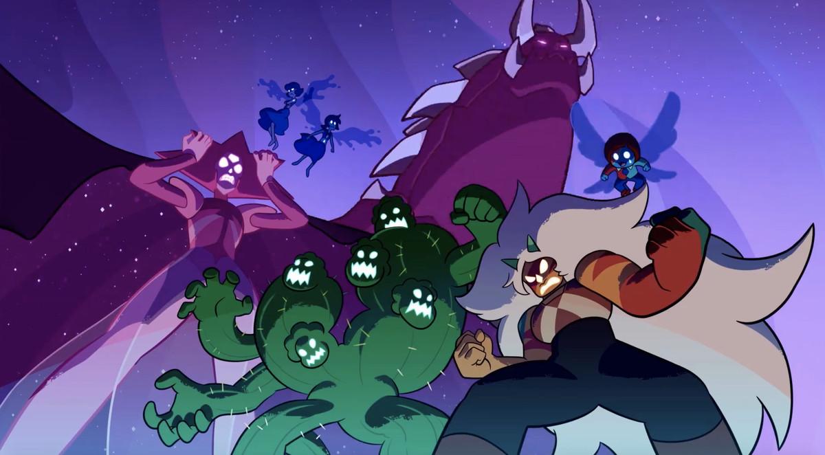 enemy gems, including a corrupted-looking diamond, Jasper, a cactus Steven creature