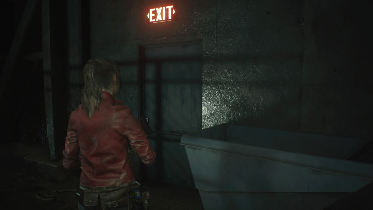 Resident Evil 2 Sewers Exit sign door