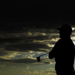 Peter Hanson, of Sweden, waits to putt on the 18th during the first round the Masters golf tournament Thursday, April 5, 2012, in Augusta, Ga.