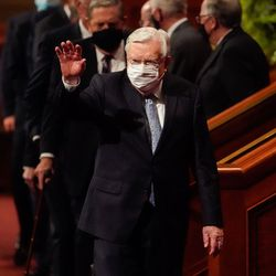 President Russell M. Ballard, acting president of the Quorum of the Twelve Apostles of The Church of Jesus Christ of Latter-day Saints, waves towards the audience as he leaves after the Saturday evening session of the 191st Semiannual General Conference of The Church of Jesus Christ of Latter-day Saints at the Conference Center in Salt Lake City on Saturday, Oct. 2, 2021.