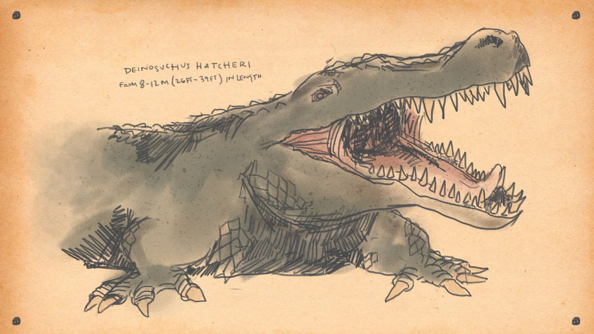 drawing of Deinosuchus, similar to a giant gator