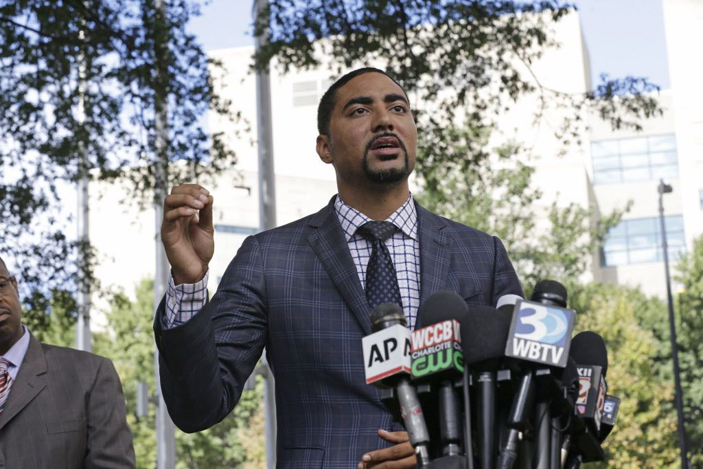 Attorney Justin Bamberg, representing the family of Keith Lamont Scott, addresses the media in Charlotte, North Carolina on Thursday, Sept. 22, 2016. | Gerry Broome/AP