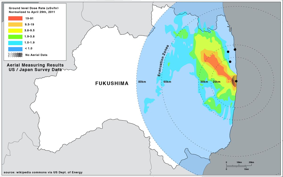 A map showing the ground contamination in Fukushima resulting from the March 11, 2011 disaster, and how it compares to the evacuation zones implemented by the government.