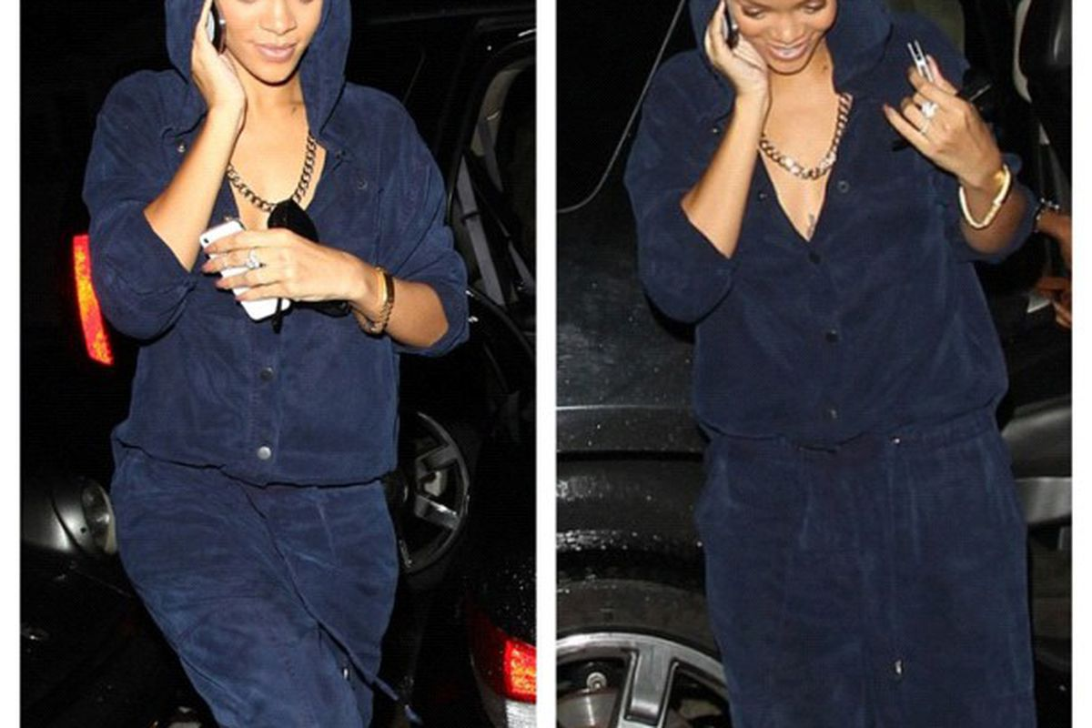 """Rihanna wearing a jumpsuit of her own design. Image via River Island/<a href=""""http://instagram.com/p/SyHJDClCz0/"""">Instagram</a>."""