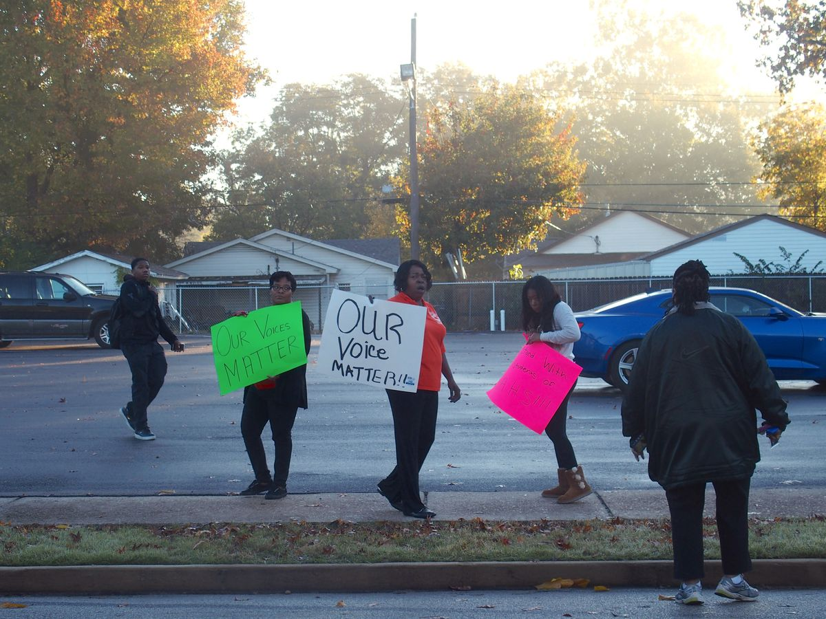 Parent advocacy organization Memphis Lift was at Memphis Academy of Health Sciences High School to protest firing a beloved principal and teacher.
