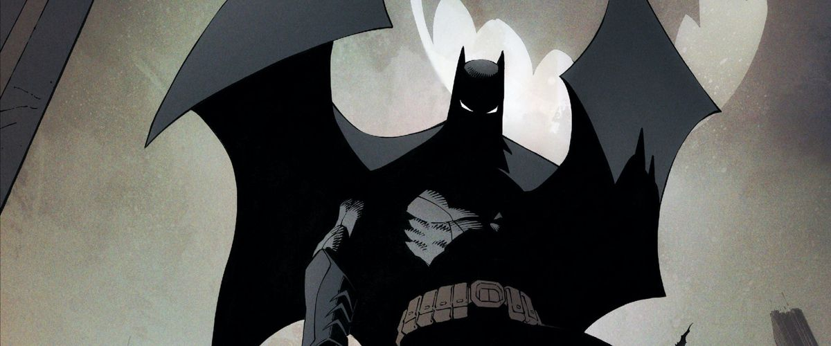 Batman's cape billows as he stands silhouetted against the bat-signal's light on the clouds behind him. His face is in shadow, but his eyes shine white and bright, on the cover of Batman #50, DC Comics (2016).