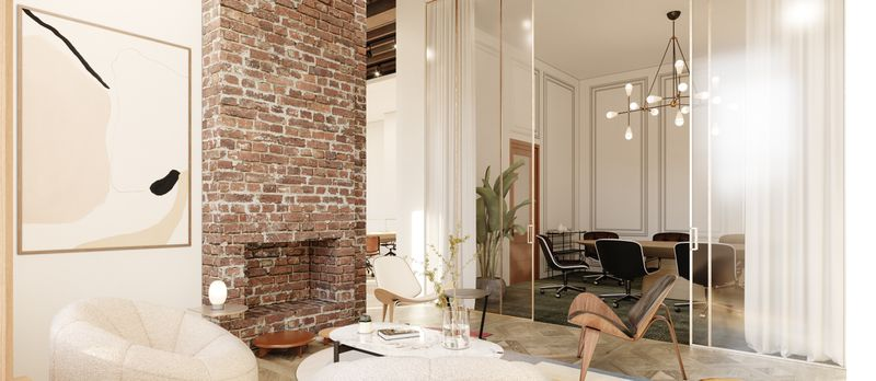 A smaller, private room with a decorative brick fireplace and floor-to-ceiling sliding glass doors.