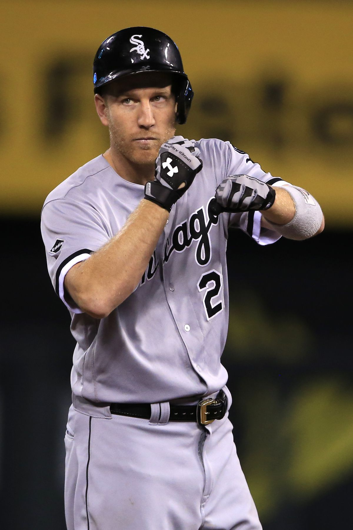 Todd Frazier gestures to teammates after hitting a double against Kelvin Herrera Friday. (AP Photo/Orlin Wagner)