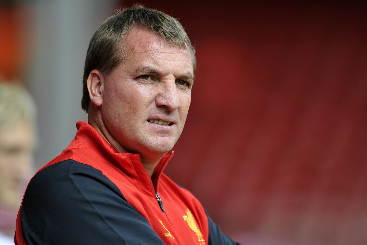 LIVERPOOL, ENGLAND - AUGUST 12:  Brendan Rogers manager of Liverpool during the pre season friendly match between Liverpool and Bayer Leverkusen at Anfield on August 12, 2012 in Liverpool, England. (Photo by Clint Hughes/Getty Images)
