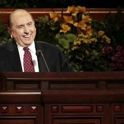 President Thomas S. Monson of the LDS Church presents the opening address during the Saturday morning session of the 180th Annual General Conference of The Church of Jesus Christ of Latter-day Saints at the Conference Center in Salt Lake City.
