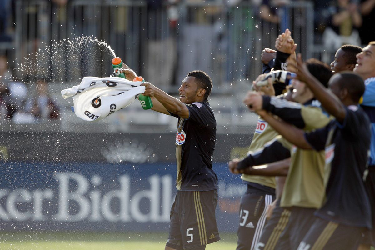 CHESTER, PA - APRIL 30: Carlos Valdes #5 of the Philadelphia Union celebrates their 1-0 win over the San Jose Earthquakes at PPL Park on April 30, 2011 in Chester, Pennsylvania.  (Photo by Rob Carr/Getty Images)