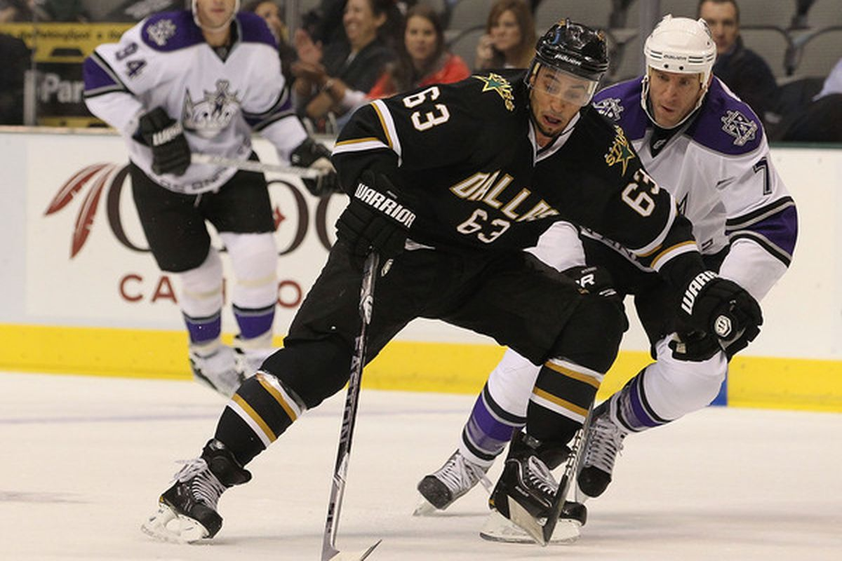 DALLAS - OCTOBER 28:  Center Mike Ribeiro #63 of the Dallas Stas skates the puck past Rob Scuderi #7 of the Los Angeles Kings on October 28 2010 in Dallas Texas.  (Photo by Ronald Martinez/Getty Images)