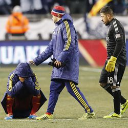 Real's Joao Plata reacts to the loss as Real Salt Lake loses to Sporting KC Saturday, Dec. 7, 2013 in MLS Cup action.