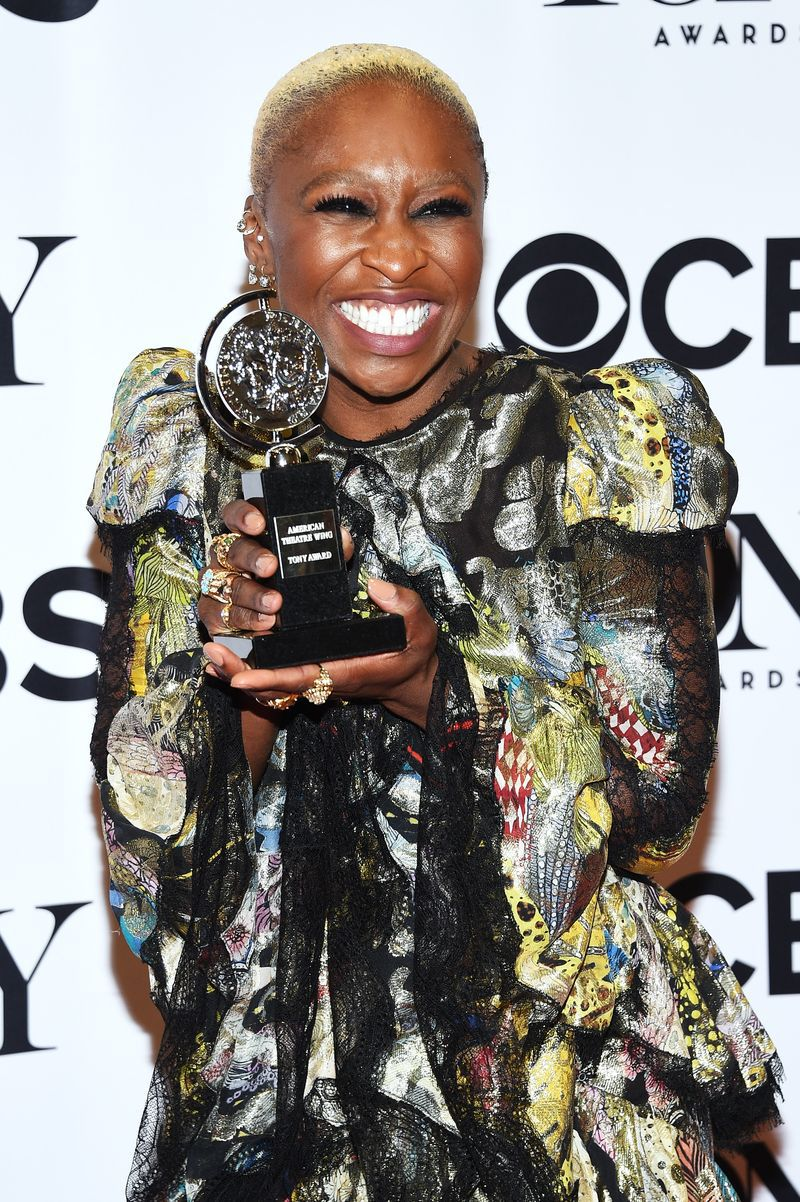 Cynthia Erivo in the press room with her Tony award for Best Performance by an Actress in a Leading Role in a Musical.