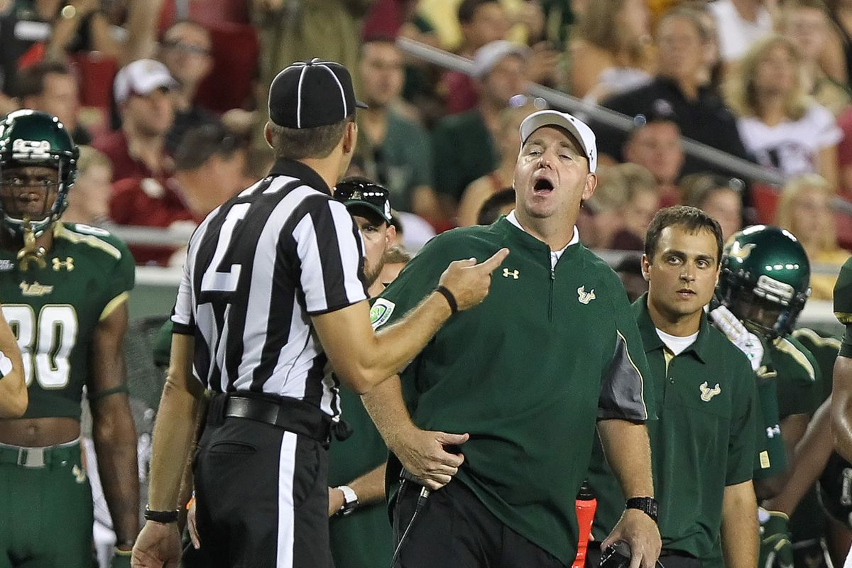 Skip Holtz, here probably trying to argue that something is someone else's fault.