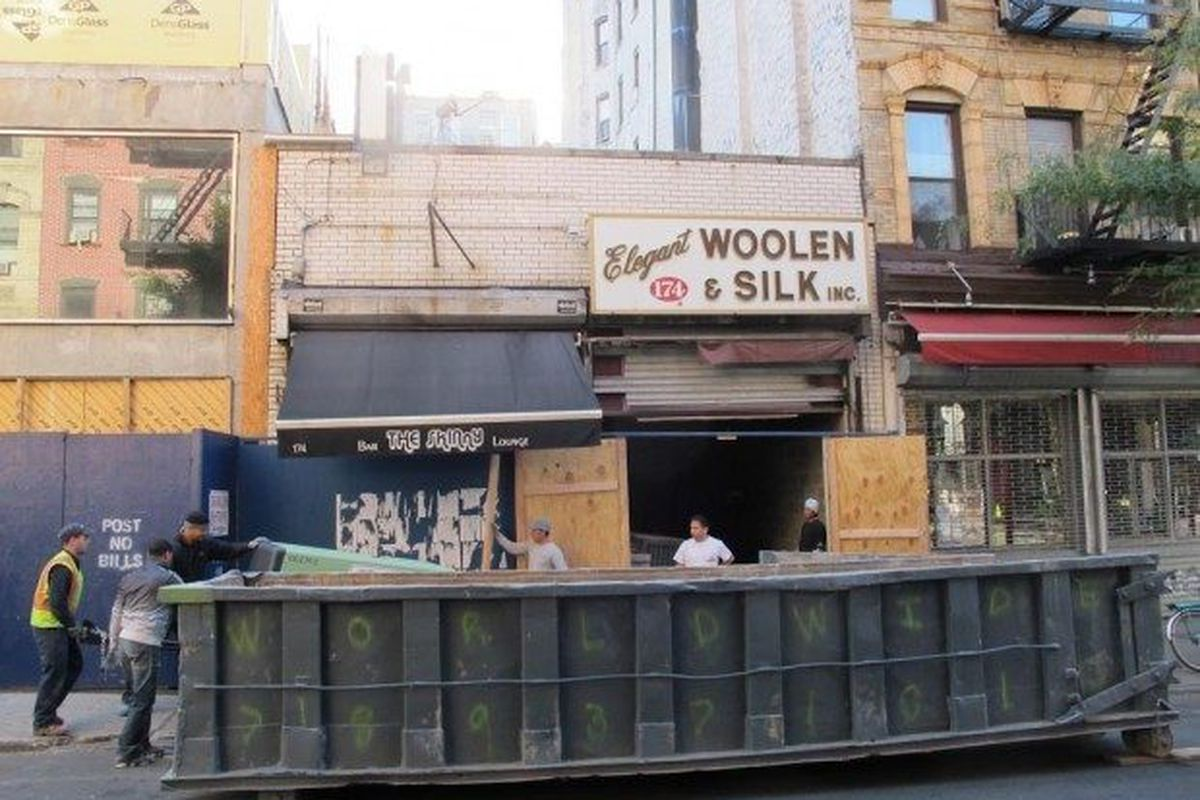 """Renovations at the SKINnY via <a href=""""http://www.boweryboogie.com/2012/10/the-skinny-begins-expansion-on-orchard-street/"""">Boogie</a>."""