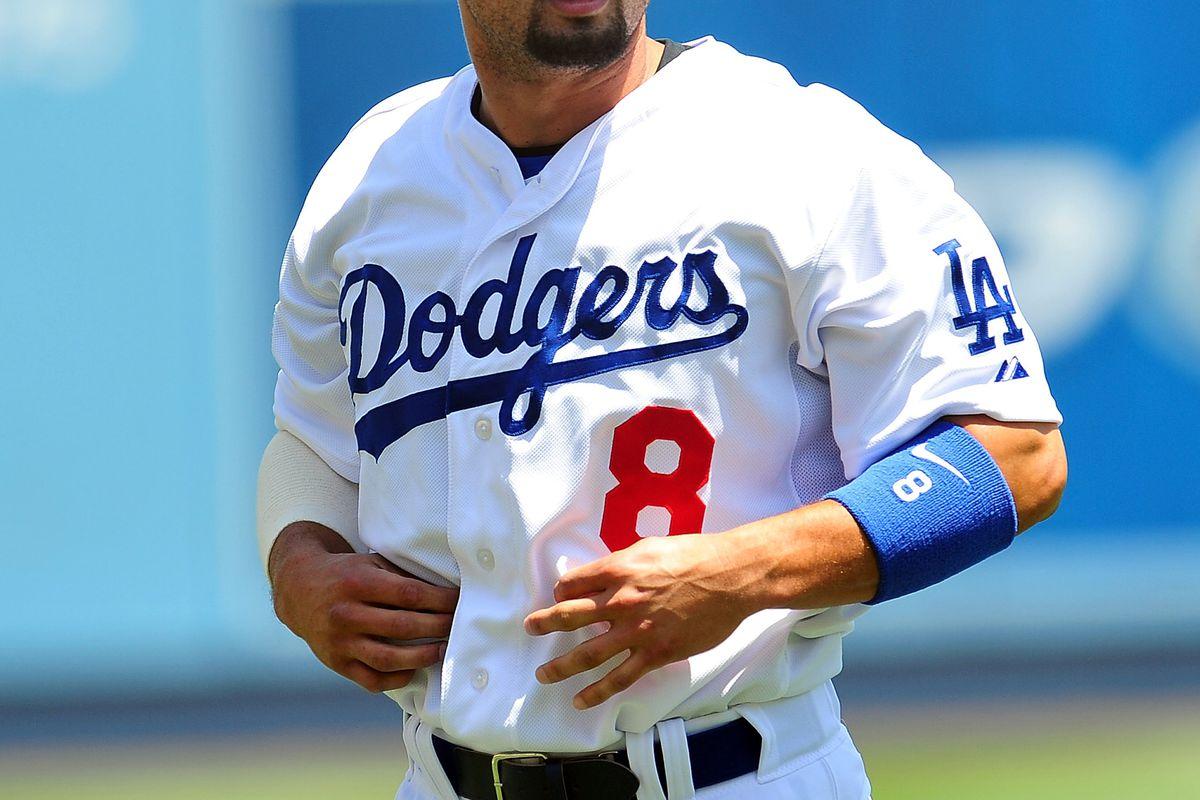 August 1, 2012; Los Angeles, CA, USA; Los Angeles Dodgers center fielder Shane Victorino (8) before playing against the Arizona Diamondbacks at Dodger Stadium. Mandatory Credit: Gary A. Vasquez-US PRESSWIRE