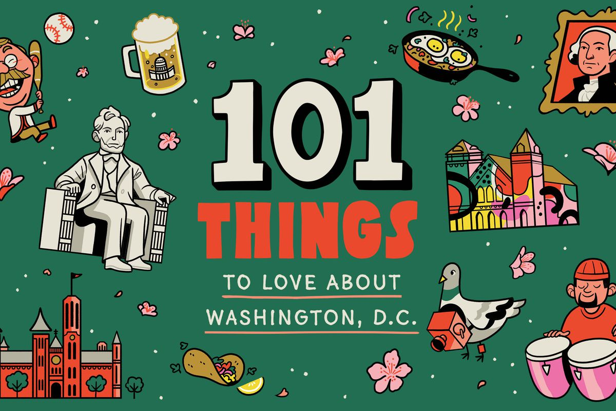 An illustration with a dark green background and icons of Washington, D.C., including the Abraham Lincoln statue, the Smithsonian Castle, the Teddy Roosevelt Washington Nationals mascot, and a go-go drum player.