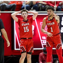 Utah Utes guard Rylan Jones (15) and Utah Utes forward Timmy Allen (1) react to a call during the game against the UCLA Bruins at the Jon M. Huntsman Center in Salt Lake City on Thursday, Feb. 20, 2020.