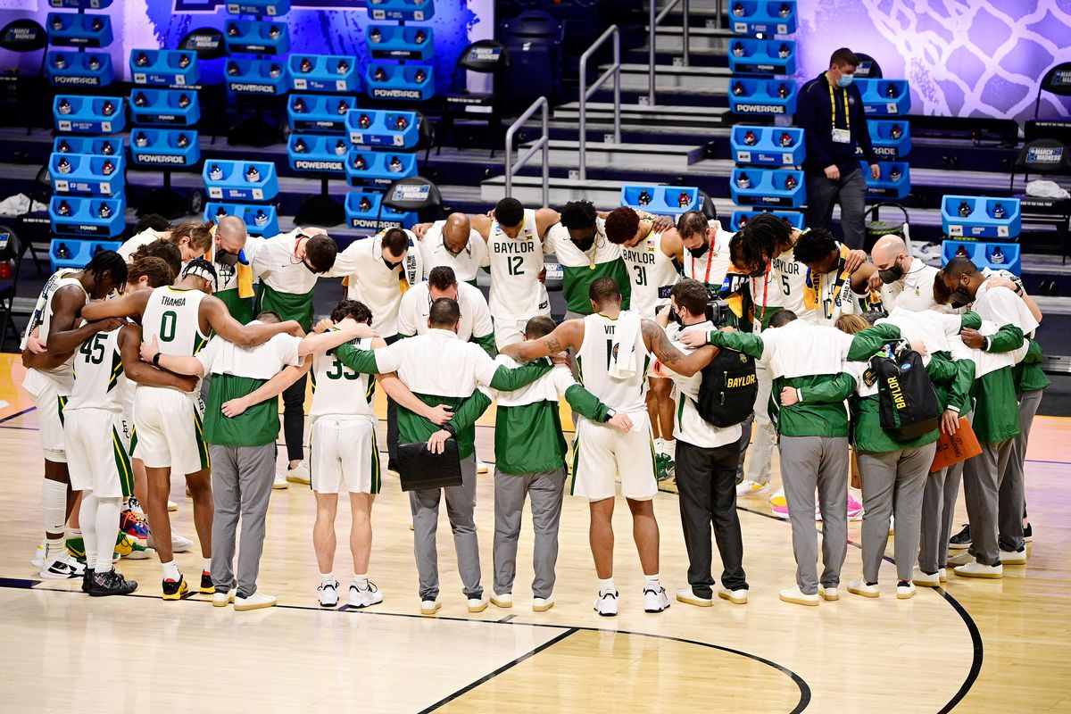 The Baylor Bears after their win over the Wisconsin Badgers in the second round of the 2021 NCAA Tournament at Hinkle Fieldhouse. The Baylor Bears won 76-63.