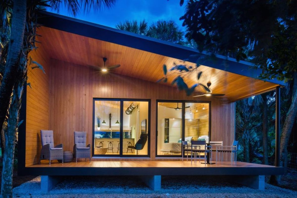 design modern home. The cabin is a prime example of the next generation senior housing Modern home  storm resistant and friendly rises in Florida