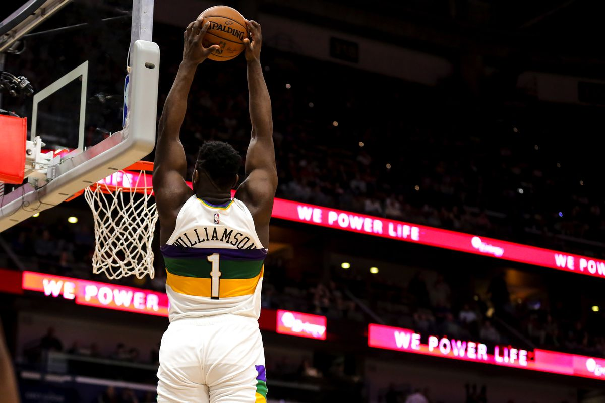 New Orleans Pelicans forward Zion Williamson dunks against the Portland Trail Blazers during the second quarter at the Smoothie King Center.