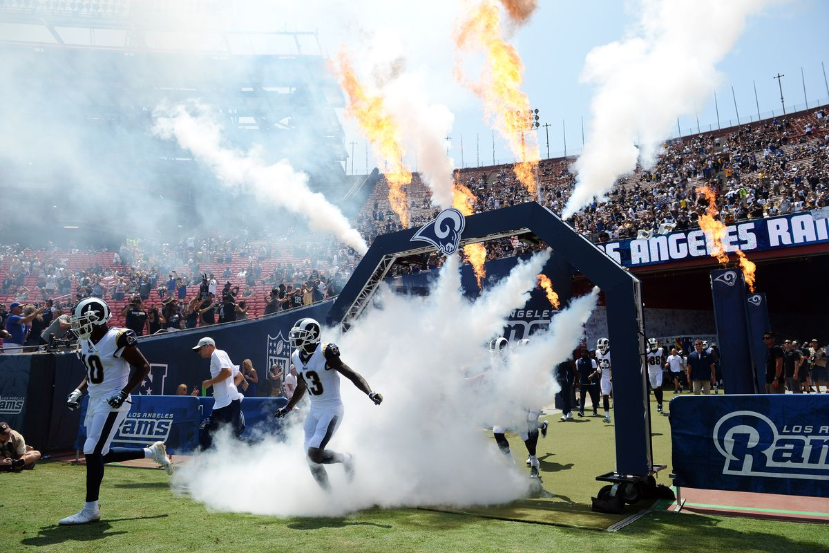 The Los Angeles Rams take the field before playing against the Oakland Raiders at Los Angeles Memorial Coliseum in Week 2 of the preseason, August 18, 2018.
