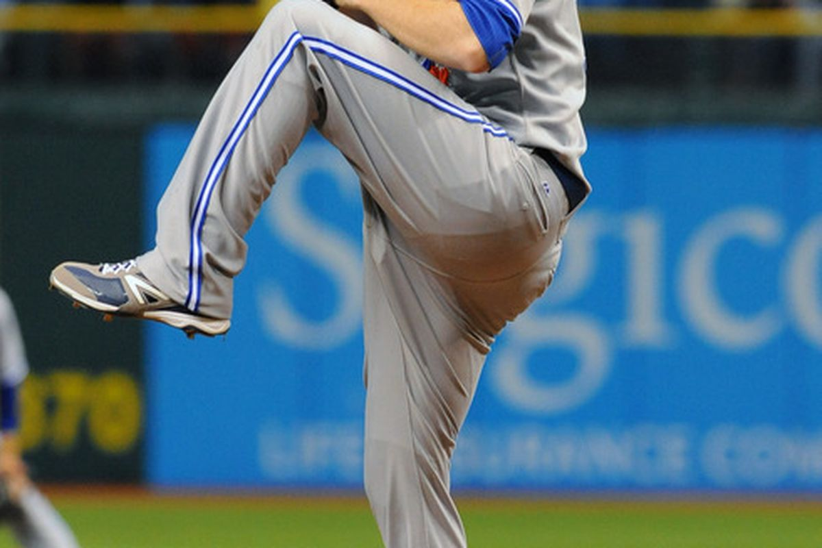ST. PETERSBURG, FL - MAY 22:   Pitcher Drew Hutchison #36 of the the Toronto Blue Jays starts against the Tampa Bay Rays May 22, 2012  at Tropicana Field in St. Petersburg, Florida.  (Photo by Al Messerschmidt/Getty Images)
