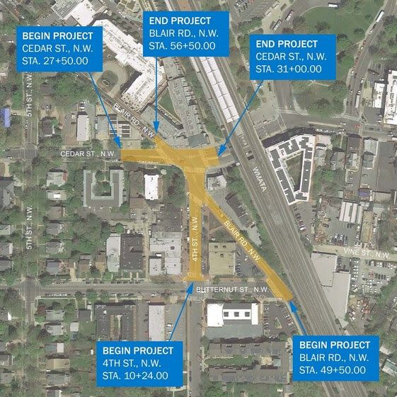 A map of the project area with street-grid view, showing Blair Road NW, Cedar Street NW, and 4th Street NW.