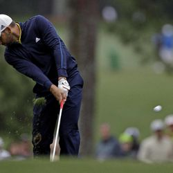 Sergio Garcia, of Spain, hits off the first fairway during the second round the Masters golf tournament Friday, April 6, 2012, in Augusta, Ga.