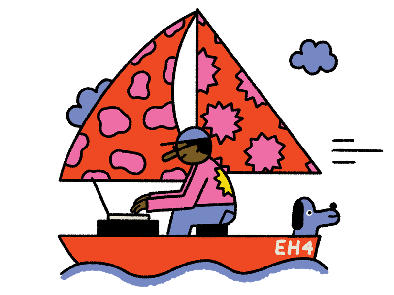 A person sits in a red sailboat with a colorful patterned sail. There is a dog in the sailboat too. This is an illustration.